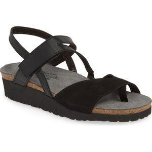 Naot Nubuck Backstrap Wedge Sandals Blaire BLACK